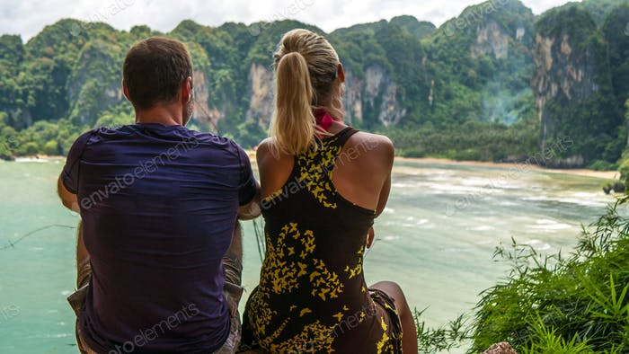 Couple on View Point to Hat Tom Sai Beach at Railay, Krabi, Thailand