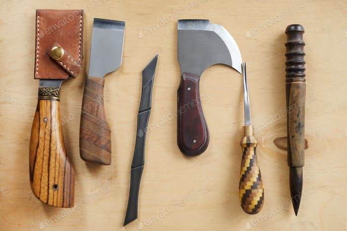 Leatherwork Tools on Table