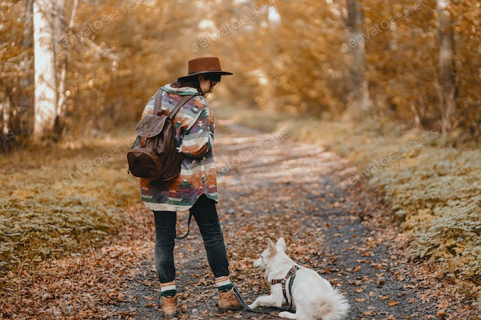 Stylish woman walking with adorable white dog in sunny autumn woods. Cute swiss shepherd puppy