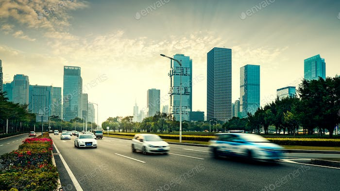 The road and city
