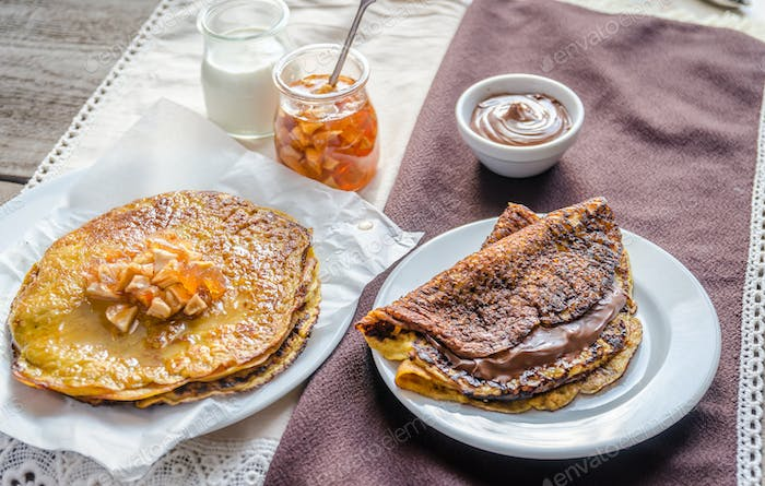 Thumbnail for Pumpkin crepes with fruit confiture and chocolate cream
