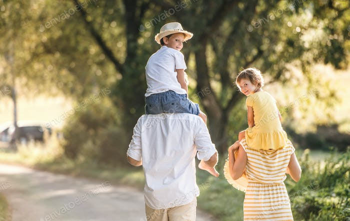 A rear view of young family with small children in sunny summer nature.