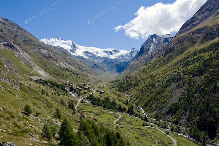 Beautiful Taesch valley in the swiss alps