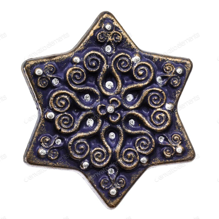 Festive decoration in the form of six-pointed star, isolated on