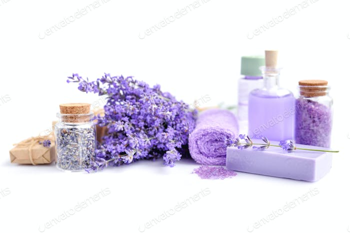 Spa composition with flowers of lavender, cream, salt and soap o