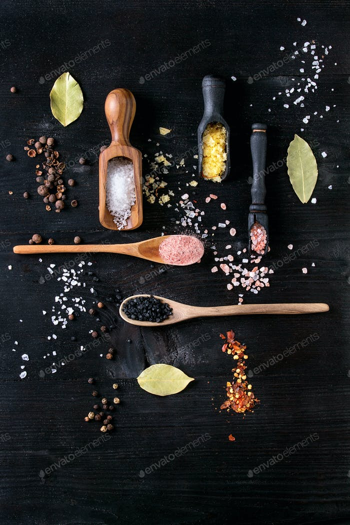 Variety of colorful salt
