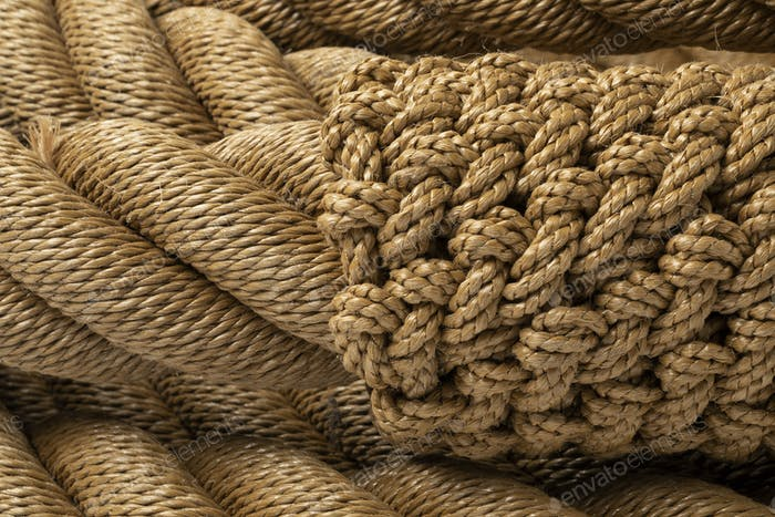New knotted rope close up