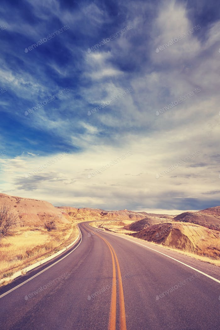 Vintage stylized scenic highway, travel background.