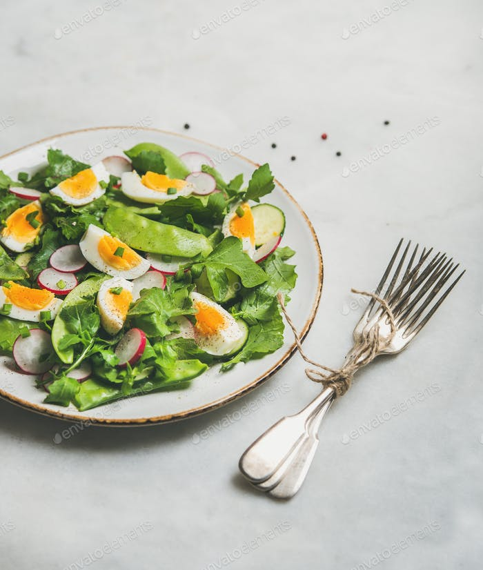 Gesunder Frühlingsgrüner Salat mit Gemüse, Erbse und Ei