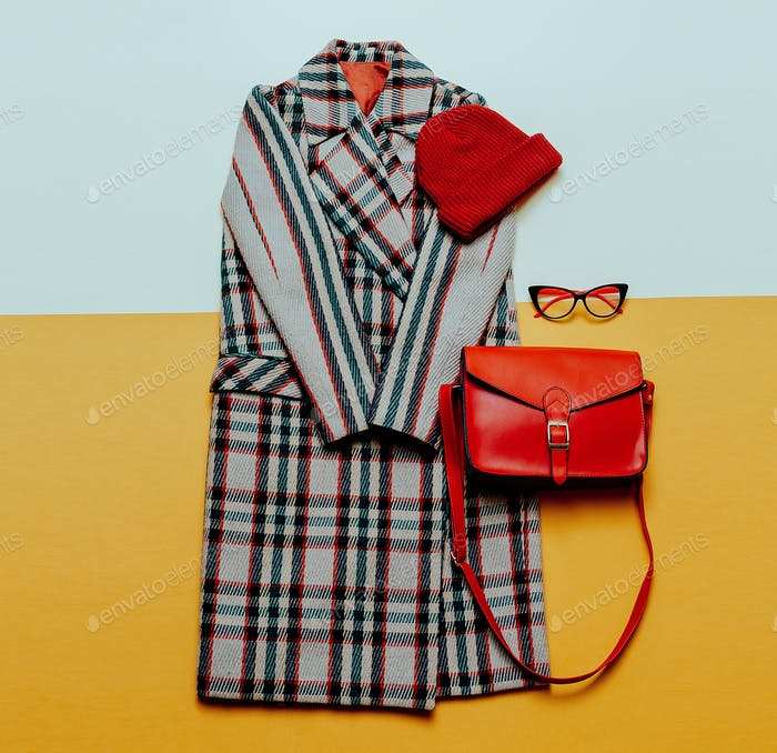 Checkered coat and red accessories. Urban Fashion Vintage Style