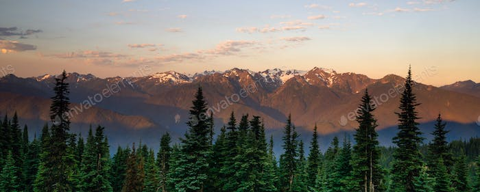 Hurricane Ridge Olympic National Park Mountain Range Sunset