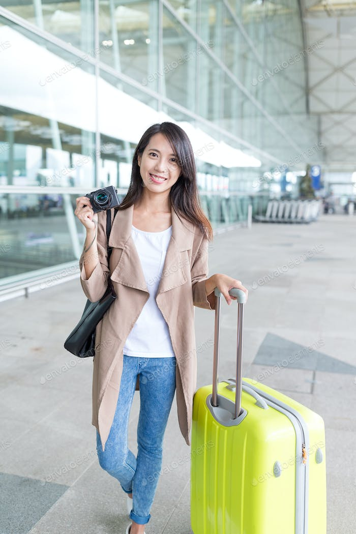 Woman ready to go travel