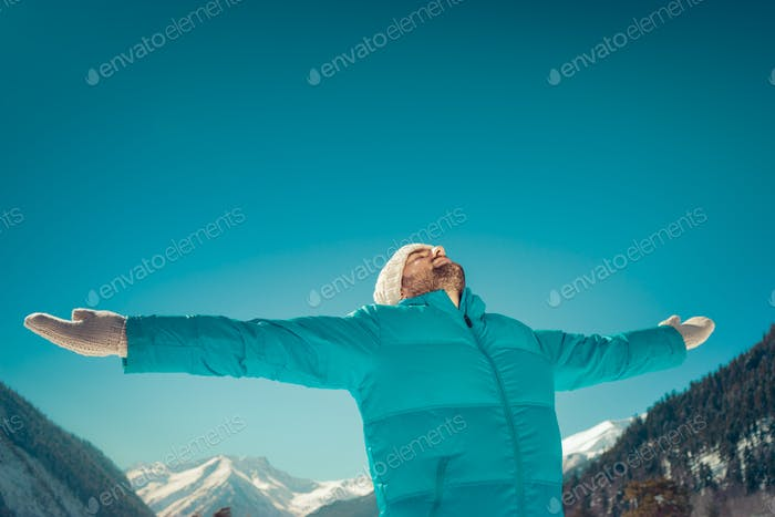 Freedom winter mountain man