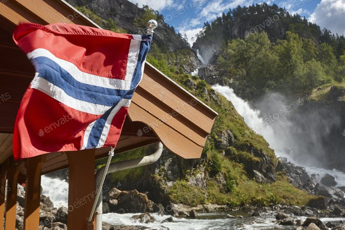 Norwegian twin waterfall. Norway flag. Latefossen. Visit Norway. Highlight