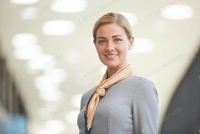 Female Flight Attendant in Airport