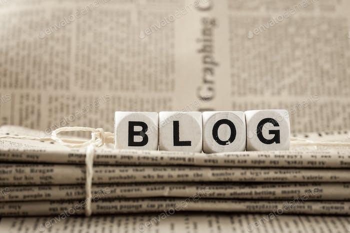 Palabra de blog y periódicos
