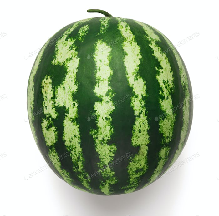 Ripe striped watermelon isolated on white background