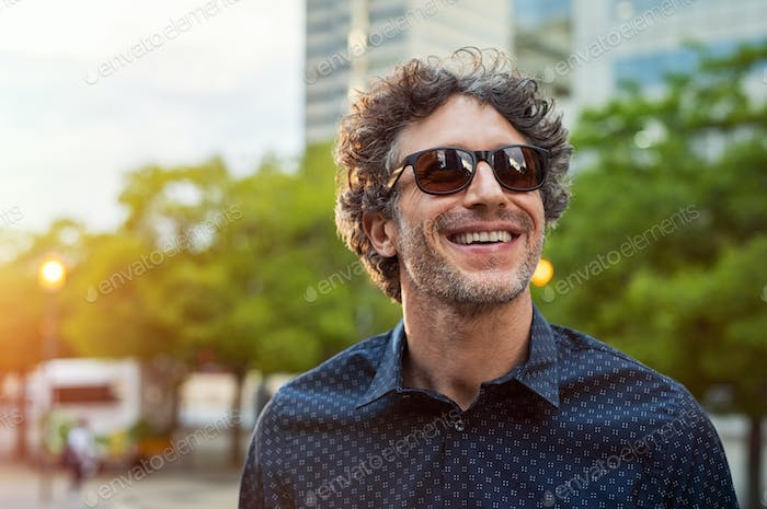 Happy man wearing sunglasses