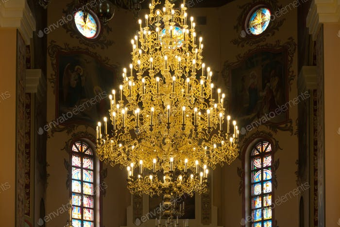 Chandelier in christian church