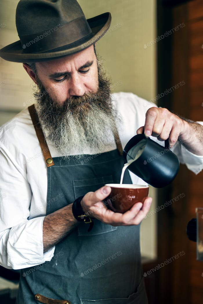 Barista Pouring Coffee Cafe Working Startup Business Concept