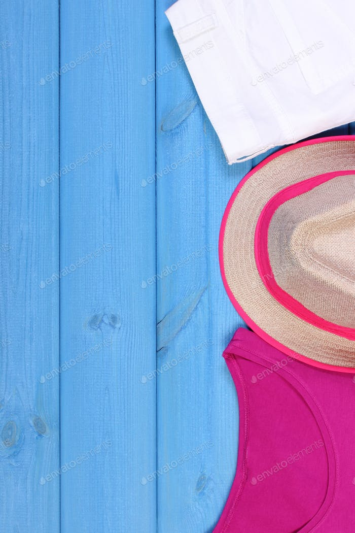 Clothing for woman for vacation and summer time, copy space for text on boards