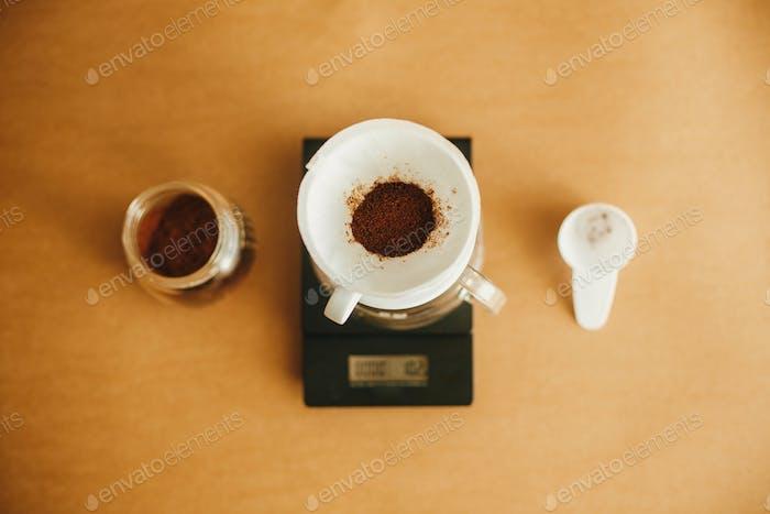 Drip coffee flat lay