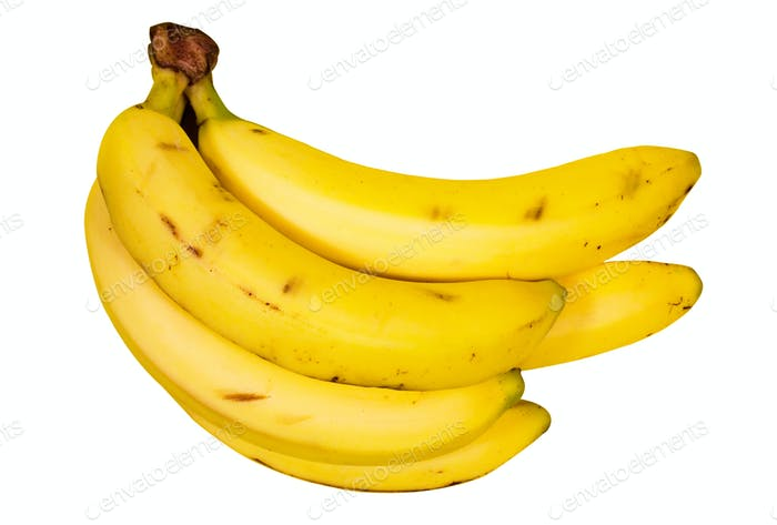 Several Bananas with Clipping Path Isolated on a White Background