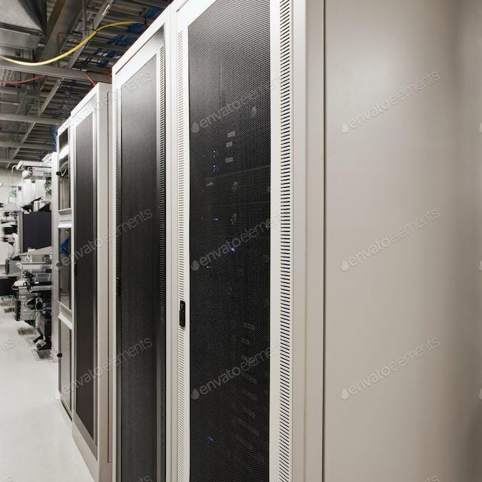 Computer servers in cabinet.