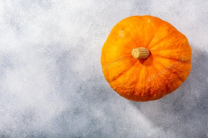 Orange pumpkin (Cucurbita pepo fruit) on grey textured backdrop w/ copy space,  top view