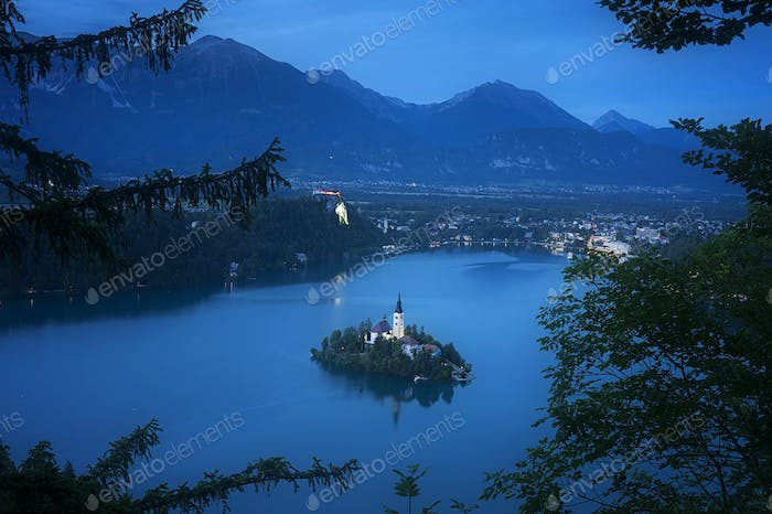 Aerial View of Famous Bled Lake National Park at dusk, Slovenia