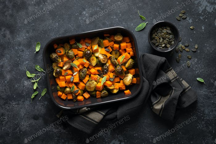 Brussels sprouts baked with butternut squash, top view