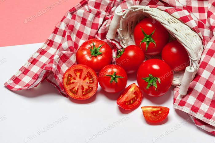 Top view of bunch of fresh tomatoes isolated on white background