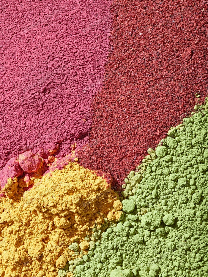 various colorful dried fruit powder