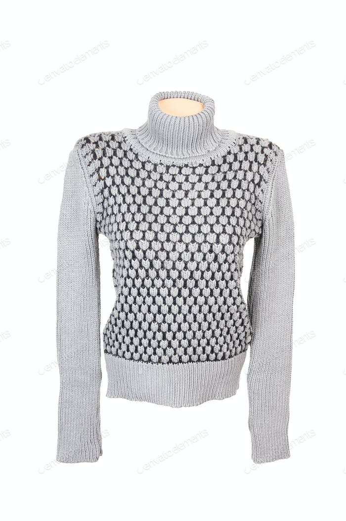 Grey stylish sweater on a white.
