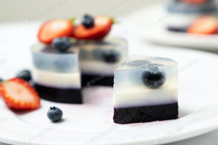 Blueberry fruit agar agar or jelly dessert