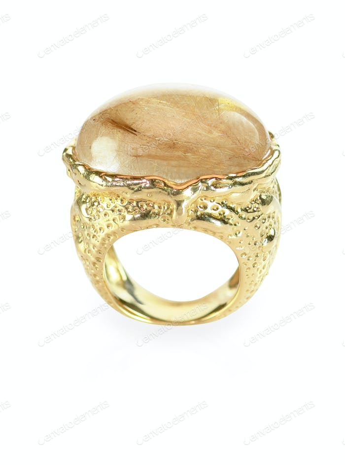 Rutilated quarts and gold ring