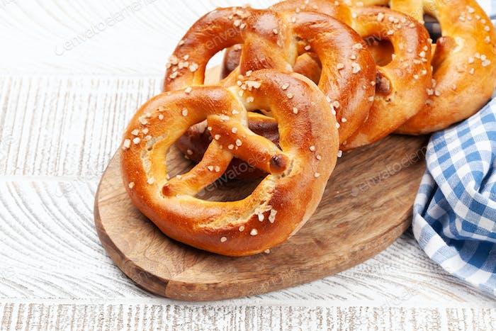 Fresh baked homemade pretzel. Beer snack
