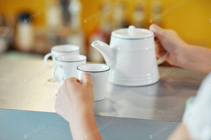 Crop server with teapot and cups