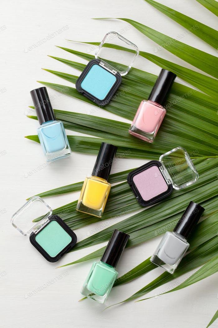 Pastel colors cosmetics. Beauty blog concept