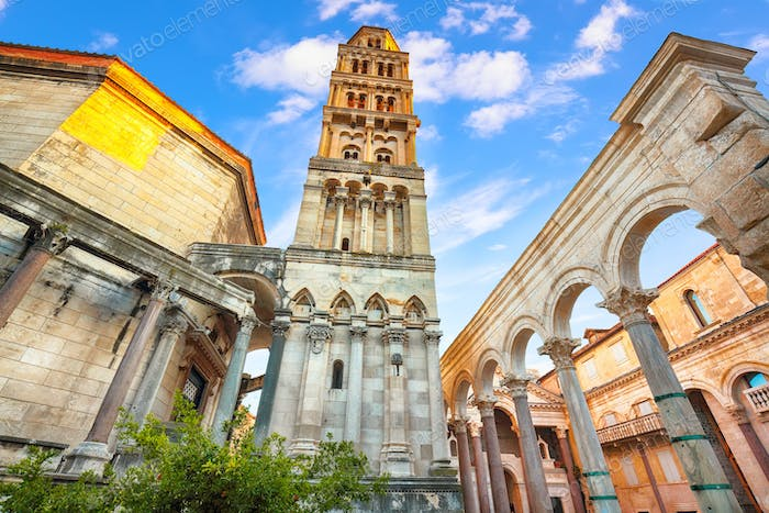 Famous Diocletian Palace  built for Emperor Diocletian in historic center of Split