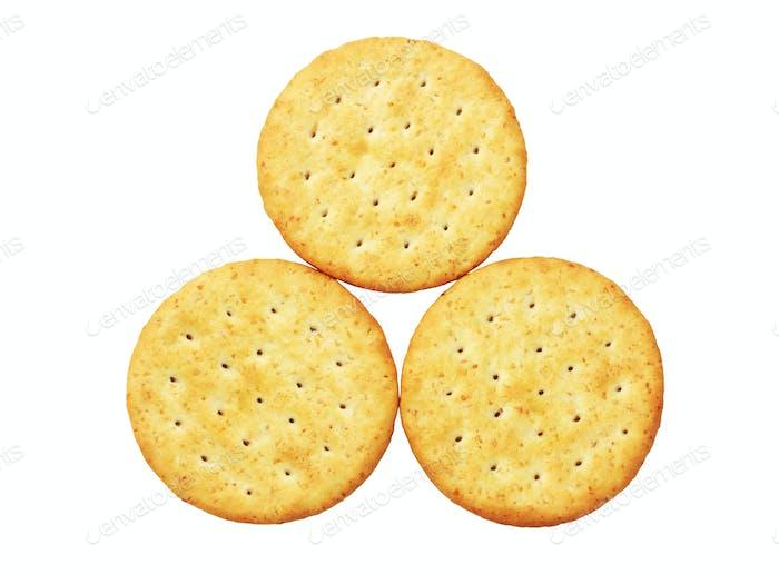 Drei runde Cracker