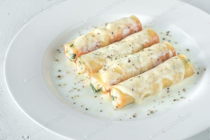 Cannelloni pasta stuffed with ricotta