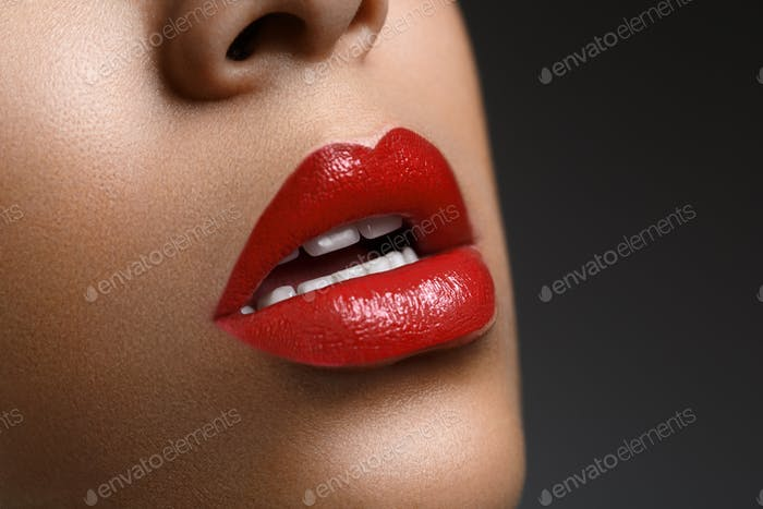 beautiful woman lips closeup