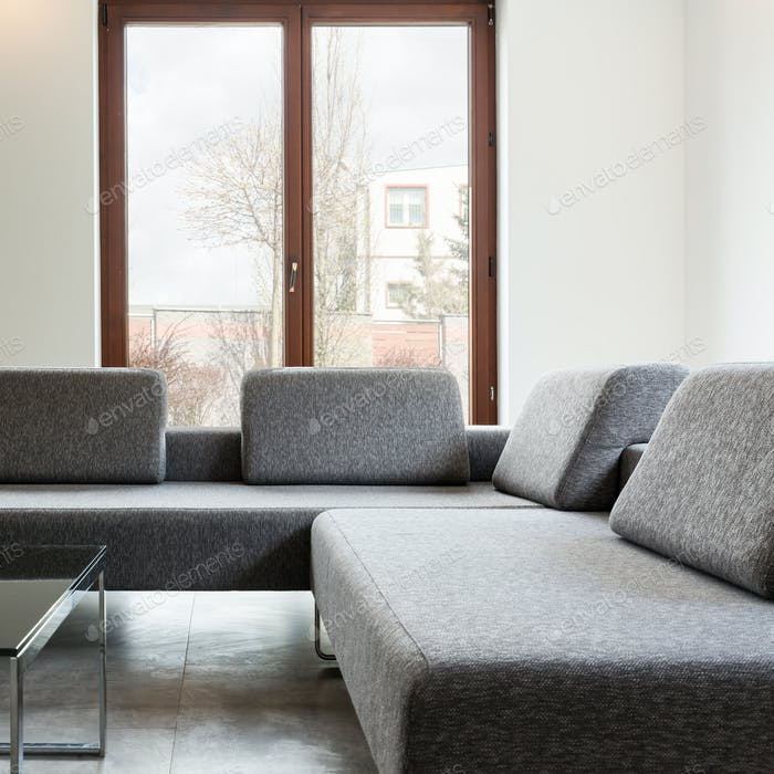 Light interior with big windows and sofa
