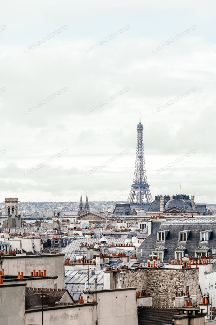 Beautiful panoramic view of Paris with Eiffel Tower. Vintage toned image.