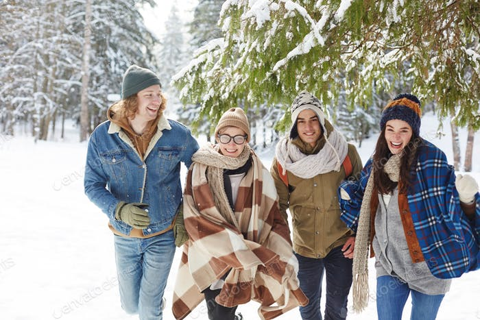 Happy Young People in Winter Resort