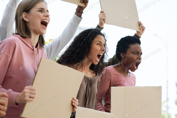 Group of women with blank placards fighting against abuse