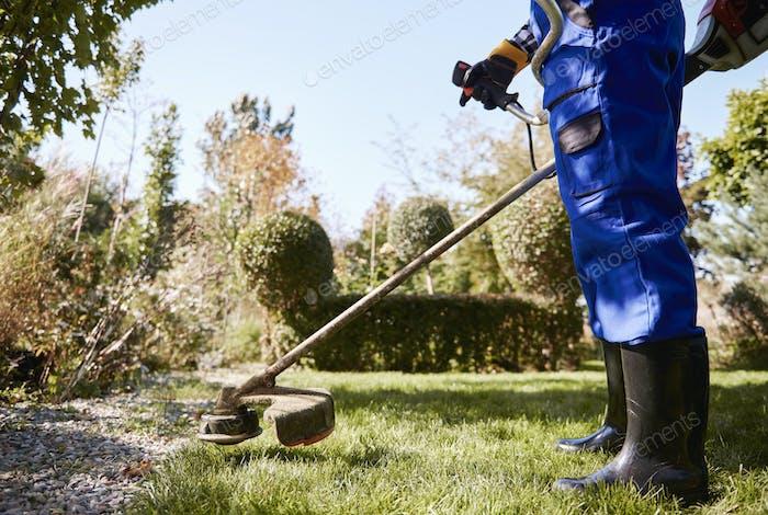 Gardener with weedwacker cutting the grass in the garden
