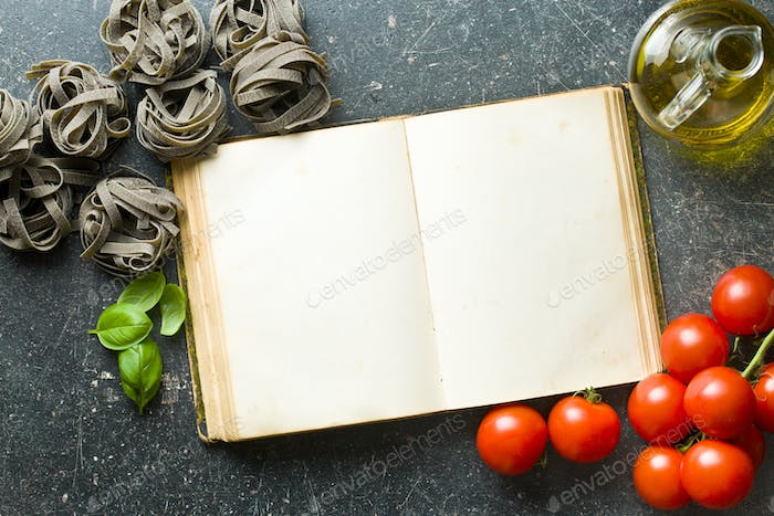 blank cookbook and ingredients