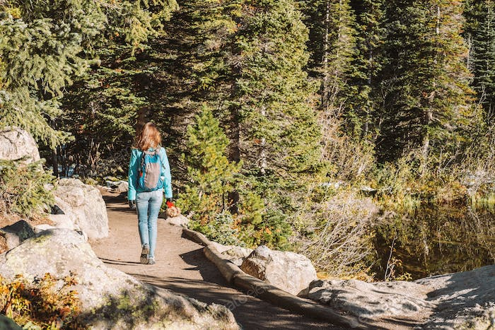 Tourist on trail near Bear Lake in Colorado